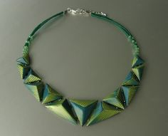 Pyramid composition necklace, by ST-Art-Clay