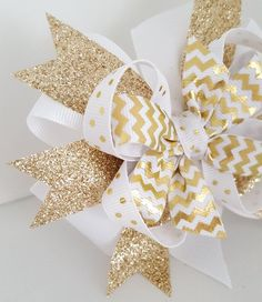 Gold Glitter Hair Bow- Babys first Birthday Bow- 4 inch Holiday Pinwheel Bow on alligator clip- White and Gold Winter Girls Hair bow- #271