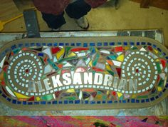 for sister in law with a longgg name..stained glass pieces with stainless steel letters