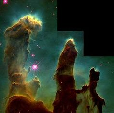 """http://en.wikipedia.org/wiki/Nebula     ~    The """"Pillars of Creation"""" from the Eagle Nebula. Evidence from the Spitzer Telescope suggests that the pillars may already have been destroyed by a supernova explosion, but the light showing us the destruction will not reach the Earth for another millennium.[2]"""""""