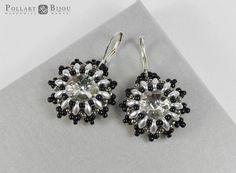 Crystal earrings Beaded earrings Dangle earrings  Beaded jewelry Beadwork Gift for her Silver earrings by PollartBijouSoutache on Etsy
