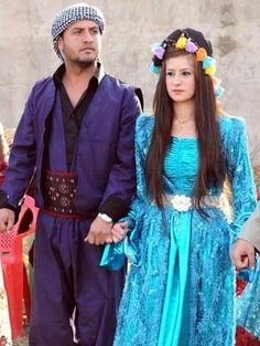 A couple in traditional Kurdish costumes.  From the Hakkari region, 2010s.