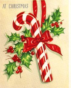 Vintage Christmas Card Candy Cane by PaperPrizes on Etsy