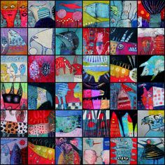 Collage of different works of different sizes Elke Trittel