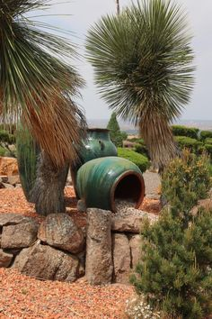 This homeowner used glazed terracotta pots as a front yard feature. One of them is placed to evoke water pouring out from it. Landscape Design, Garden Design, Terracotta Pots, New Mexico, Santa Fe, Outdoor Spaces, Yard, Tours, Play