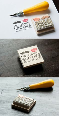 New design! Lips & Mustache, Custom Hand-carved Wedding Stamp.