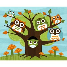 84B Bright Owls Living in Tree 8 x 10 Print by leearthaus on Etsy, $20.00