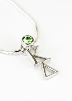 Kappa Delta Sterling Silver Lavaliere Pendant with Swarovski™ Green Crystal