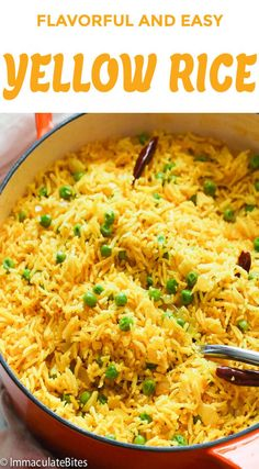 Yellow Rice - Two quick and simple to make yet super delicious rice dishes, Indian and South African style seasoned mainly with turmeric, ginger and curry powder for a taste bud sensation. Yellow Rice Recipes, Yellow Rice Recipe Cuban, Basmati Rice Recipes, Tumeric Rice Recipe, Red Rice Recipe Southern, Boiled Rice Recipes, Cuban Rice, Jasmine Rice Recipes, Rice Pilaf Recipe