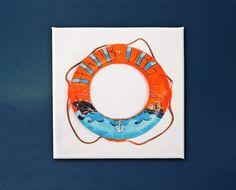 """80x80 cm Rettungsring """"Hamburger Hafen"""" / Leinwanddruck by Lena Kaufmann  made in Hamburg, St.Pauli  Wonderland Gallery & Artshop St.Pauli Hein-Hoyer Str.40 20359 Hamburg"""