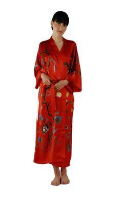 White Sexy Flower Yukata Kimono Bath Gown Women Silk Long Lingerie V ... 8d432a3ac
