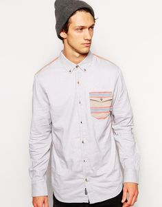 Oxford shirt by Vans Made from 100% cotton Button down collar Contrast pocket to chest Button down placket Curved hem Contrast back piece Regular fit