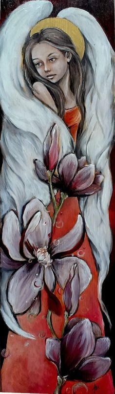 Burgundowy z kwiatami  angel acrylic painting on wood