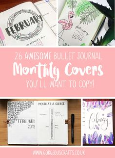 26 Awesome Bullet Journal Monthly Covers you will want to copy!