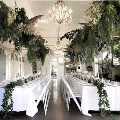 What's not to adore about pampas grass together with chandeliers? This beautiful arrangement at is by the brilliant… Pampas Grass, Indoor Wedding, Hunter Green, Getting Married, Greenery, Rustic Wedding, Dream Wedding, Reception, Table Decorations
