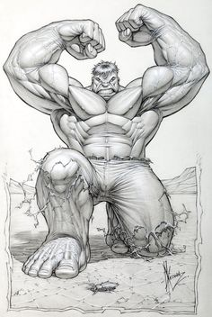 Two commission illustrations, and the original, unpublished cover illustration by Dale Keown for The Incredible Hulk #369, published by Marvel Comics, May 1990.