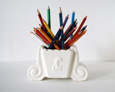 Vintage Art Deco Ceramic Planter White Pottery by CalloohCallay