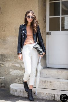 Leather kind of awesome. Apricot top, white pants. Diletta Bonaiuti Street Style