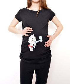 Another great find on #zulily! Black Baby Bubbles Maternity Tee - Women & Plus #zulilyfinds