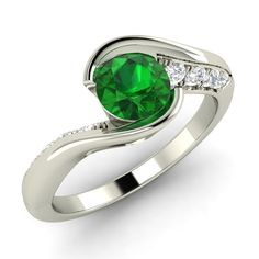 Natural Emerald Engagement Ring with SI Diamonds in 18 Carat White Gold 0 62 Tcw…
