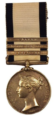 "Battle of Trafalgar medal awarded to a crew member of the ""Fighting Temeraire"" for his efforts at the Battle of Trafalgar (1805) has auctioned for $20,500 in the UK. The medal brought £13,500 ($20,558). It belonged to Thomas Durnell, who went on to serve at the Battle of Basque Roads in 1809 and during the Invasion of Java in 1811, as proved by the additional clasps."