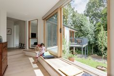 Window seat Doncaster House by Inbetween Architecture Sliding Windows, Windows And Doors, Sliding Door, Suburban House, Window Benches, Melbourne House, House Extensions, Detached House, My Dream Home