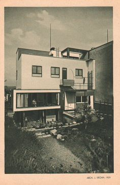 Kroha, Jiří - Kroha's own villa Movement In Architecture, Modern Architecture, Bauhaus Style, International Style, Architectural Photography, Aesthetics, Art Deco, Exterior, Houses