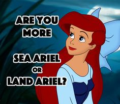 You got: Sea Ariel How many times must we go through this? You're a MERMAID! You may not be a child anymore, but as long as you live under your father's roof, you'll obey his rules. And he doesn't want you getting snared by some fish eater's hook. So make peace with life under the sea!