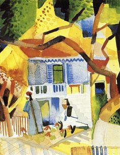 August Macke, Courtyard of a Villa at St. Germain, 1914 Expressionismus in Deutschland