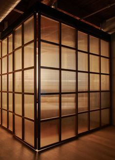 The bedroom enclosure illuminated at night. Tagged: Doors Interior Wood and Sliding Door Type. Photo 5 of 13 in A Dated Loft Is Stripped Down to a Streamlined Aesthetic. Browse inspirational photos of modern doors and entryways. - November 03 2019 at Japanese Sliding Doors, Japanese Door, Japanese Bedroom, Interior Stairs, Interior Barn Doors, Exterior Doors, Loft Door, Hanging Barn Doors, Estilo Interior
