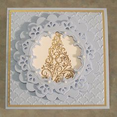SU Snow Swirled, frame was made using Spellbinders dies Scallop circles and Doily Motifs  (card made by Linda Throgmorton)