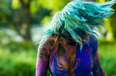 Holi Powder Photoshoot with alternative model Smurf photographed by BWR: Black, White and Raw Photography