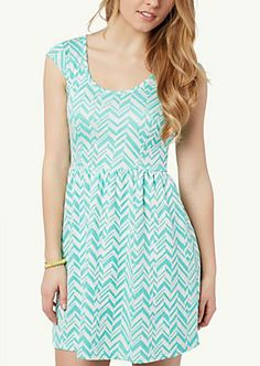 Chevron Skater Dress in blue