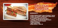 A BBQ Club is always a tasty choice. Club Sandwich Ingredients, Monterey Jack Cheese, Sliced Tomato, White Bread, Easy Food To Make, Arugula, Italian Style, Mayonnaise, Bacon