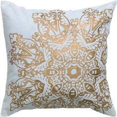 "Satna Medallion Pillow, 18""Hx18""Wx3""D, METALLIC GOLD Home Decorators Collection http://www.amazon.com/dp/B00NYM3E3Q/ref=cm_sw_r_pi_dp_RBeOub0GE8HSE"