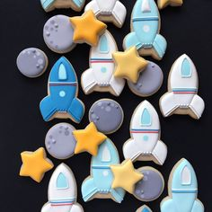 by Holly Fox 1st Boy Birthday, First Birthday Parties, Birthday Party Themes, First Birthdays, Birthday Backdrop, Space Baby Shower, Outer Space Party, Horse Treats, Baby Shower Cookies