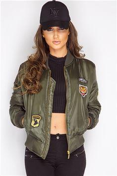 Megan McKenna Khaki Badged Bomber Jacket at misspap.co.uk