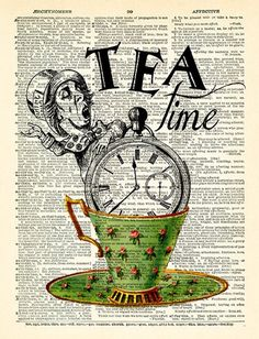 Tea Time Alice in Wonderland Quotes Alice in Wonderland Wall Art The Mad Hatter Art Print Book Page Print Alice Poster Wall decor 454 Varios Alice In Wonderland Time, Alice In Wonderland Illustrations, Wonderland Party, Art Journal Fondos, Draw Tutorial, Newspaper Art, Alice Madness, Mad Hatter Tea, Free Prints