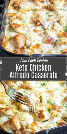 Keto Chicken Alfredo Casserole is an easy, cheesy low carb meal packed full of chicken, cheese, and cauliflower. It's the perfect keto dinner solution for feeding the whole family.   Use shredded rotisserie chicken or make your own, add it to steamed cauliflower and cover with a homemade keto alfredo sauce and more cheese. It's an easy keto dinner idea that everyone will love. #ketorecipe #ketodiet #keto #lowcarb #chicken #cheese Low Carb Dinner Recipes, Keto Dinner, Health Dinner, Diet Recipes, Soup Recipes, Easy Diabetic Recipes, Healthy Dinner Meals, Healthy Chicken Dinner, Gastronomia