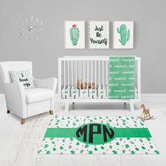 Are you looking for a fun and unique nursery set? Are you looking for cute cactus bedding? Look not further! Our personalized cactus nursery set is for you!  About each item:  40x30 HEIRLOOM BLANKET -------------------------------------- Our blanket is made of the softest fleece there is and features your babys name, simply add it in the notes to seller box at checkout! The blanket is thick and is great for using on the ground for tummy time or to keep warm in a stroller! PERSONALIZED CRIB…