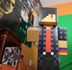 """ZexyZek custom 48"""" tall #Minecraft buddiez. Get your own skin at minecraftstatuez.com."""