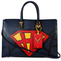 Valentino Superhero Superman Tote Bag ($5,065) ❤ liked on Polyvore featuring bags, handbags, tote bags, leather zip tote, genuine leather tote, zippered tote, leather purse and leather handbag tote