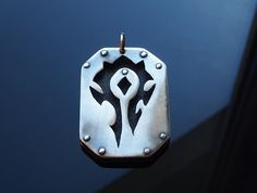 Silver pendant for World of Warcraft fan. Keychain with Horde logo. Alliance symbol made for order. geek and nerd  jewelry WoW on Etsy, $40.17