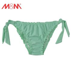 Solid Colors Sexy Women Swimwear Briefs Shirred Side Low Waist Shorts Swim Trunks Female Bikini Bottom