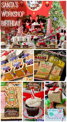 Great Santa's Workshop Christmas birthday, perfect for a boy! See more party ideas at CatchMyParty.com. #santasworkshop #boybirthday #christmas #desserttable