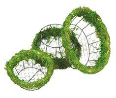 Moss Wire Basket Set - Round - 3 pc set - WWW.MILLSFLORAL.COM