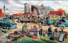 Country Auction - 1000 Pieces! Finished size 20 x 27. Artist Ken Zylla.Sunsout puzzles are 100% made in the USAEco-friendly soy-based inksRecycled boardsNot sold in mass-market stores