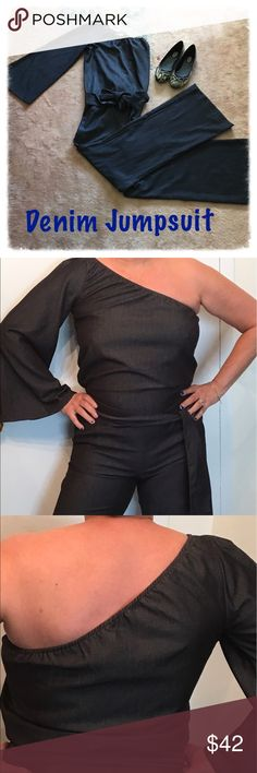 """Denim PANT•Jumpsuit•Sz L•Arden B•Bell Sleeve•NWT Just out right cool and classic one sleeve•Denim Jumpsuit•by Arden B•Size Large•NWT. Retail $119. True to size. I am a true ladies large and it feels great! Found this going thru my closet. This is from when Arden B made high end items. 33"""" inseam•17.5"""" waist•12"""" bottom of pant•23"""" down CTR of bell style sleeve•70"""" belt sash•2 outside slit pockets. Jumpsuits are in and this will be your """"jean"""" staple to go to🌺 Arden B Other"""