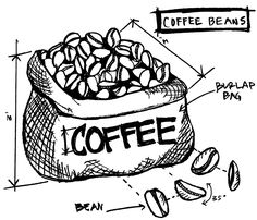 Tim Holtz Rubber Stamp 2015 COFFEE BEANS SKETCH Stampers Anonymous P12627