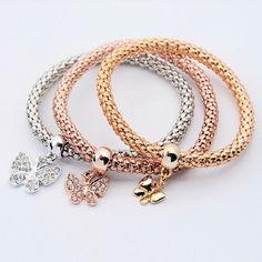 Tri Colored Butterfly Charm Bracelets - JaeBee Jewelry